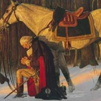 George Washington kneeling and praying to Jesus Christ