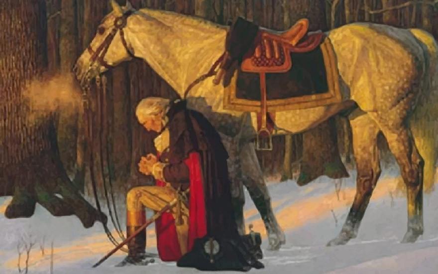 George Washington kneeling and praying to Jesus Christ